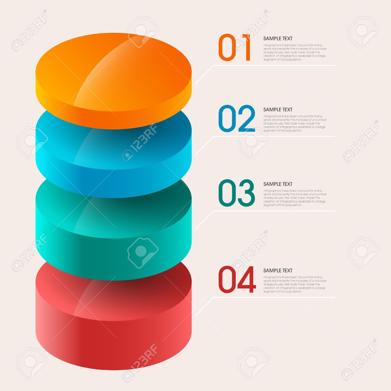 3d step label (pie chart) infographic design elements template