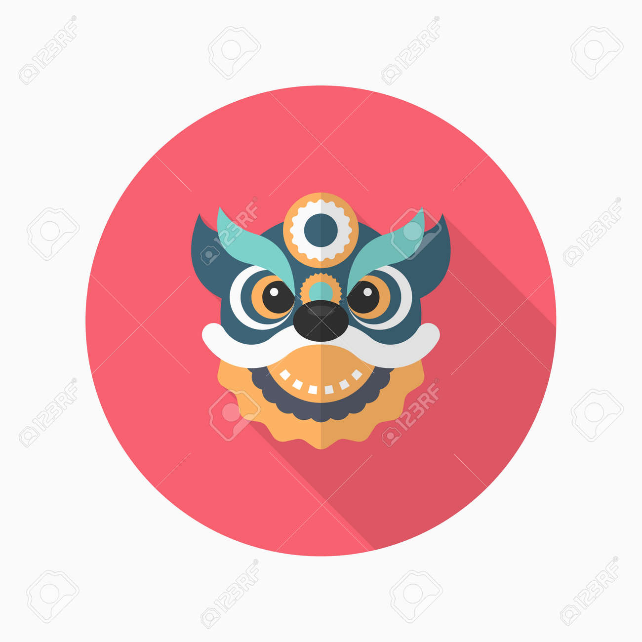 chinese new year icon vector flat long shadow designthe dragon and lion dancing - How Long Is The Chinese New Year
