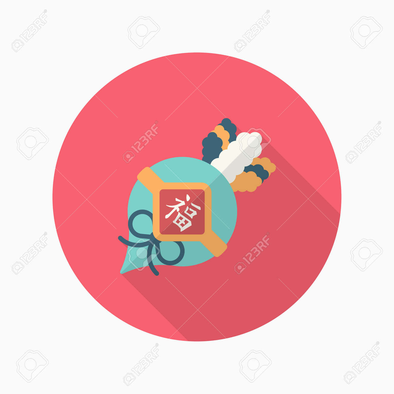 Chinese New Year Symbol, Vektor Flach Langen Schatten Design. Glück ...