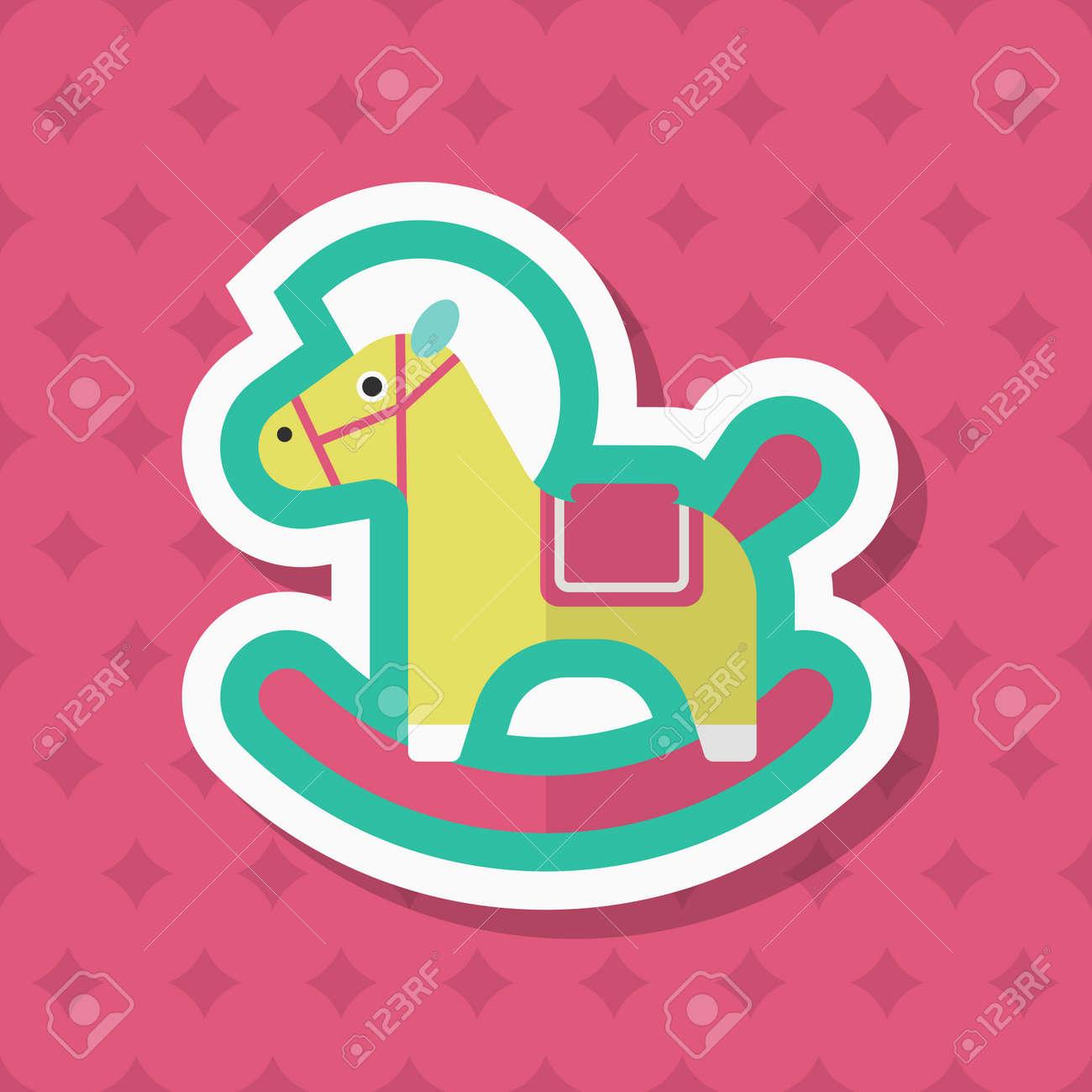 Cavallo A Dondolo Design.Icona Di Cavallo A Dondolo Design Piatto Lunga Ombra Di Vettore Concetto Di Giocattoli Per Bambini