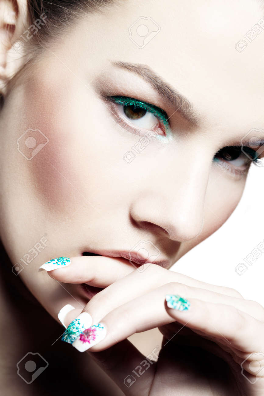Closeup Of A Model With Cyan Eyeshadow And Matching Nail-art. Stock ...