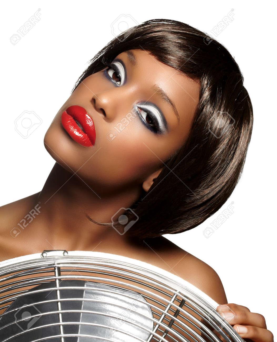 Beautiful Girl With Dark Skin Wearing Short Bob Wig And Retro