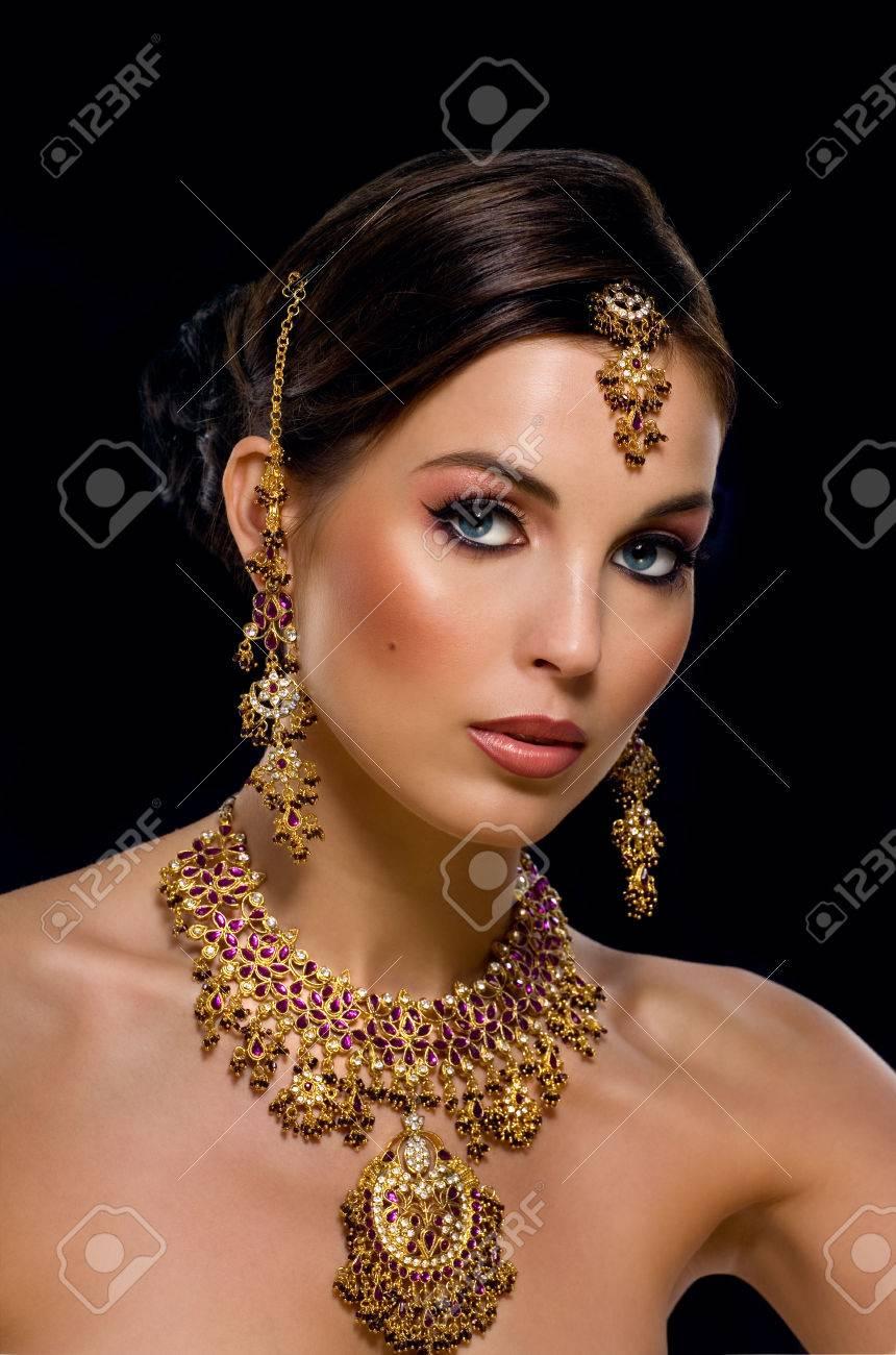 Woman with nice Indian makeup