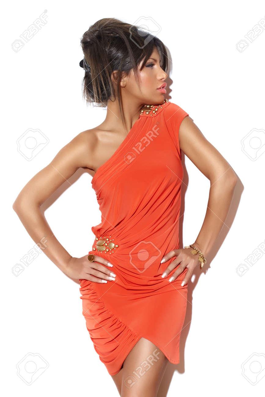 Bright Orange Cocktail Dress - Dress images