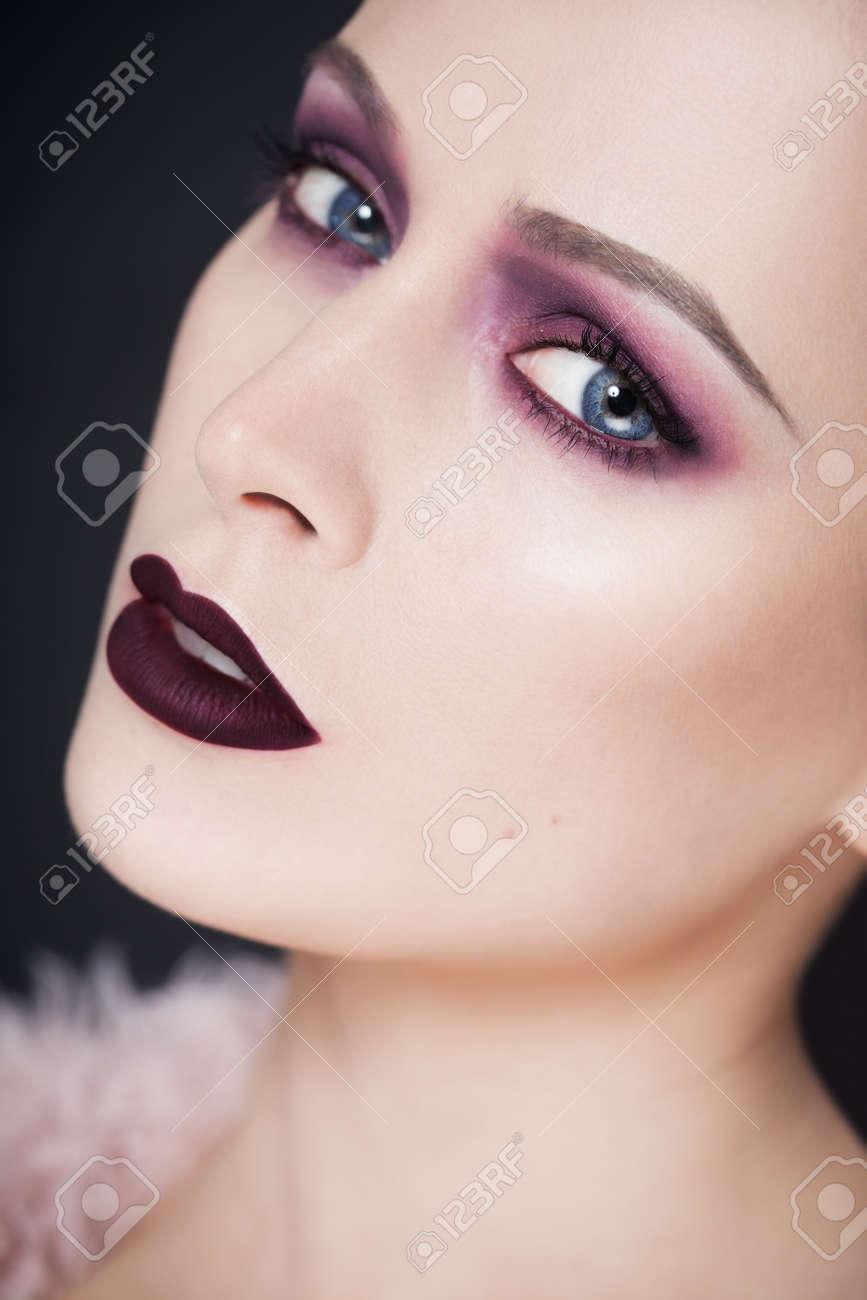 Fashion Closeup Of Beauty Model With Intense Dramatic Smoky Purple ...