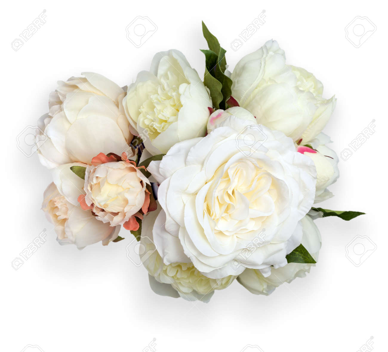 Top View Of White Peonies Bouquet Object Is Isolated On White