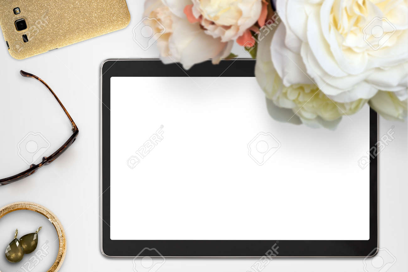 Top view scene with tablet device, jewelry and bouquet of peonies. Styled stock photography. Digital product mockup. - 59027905