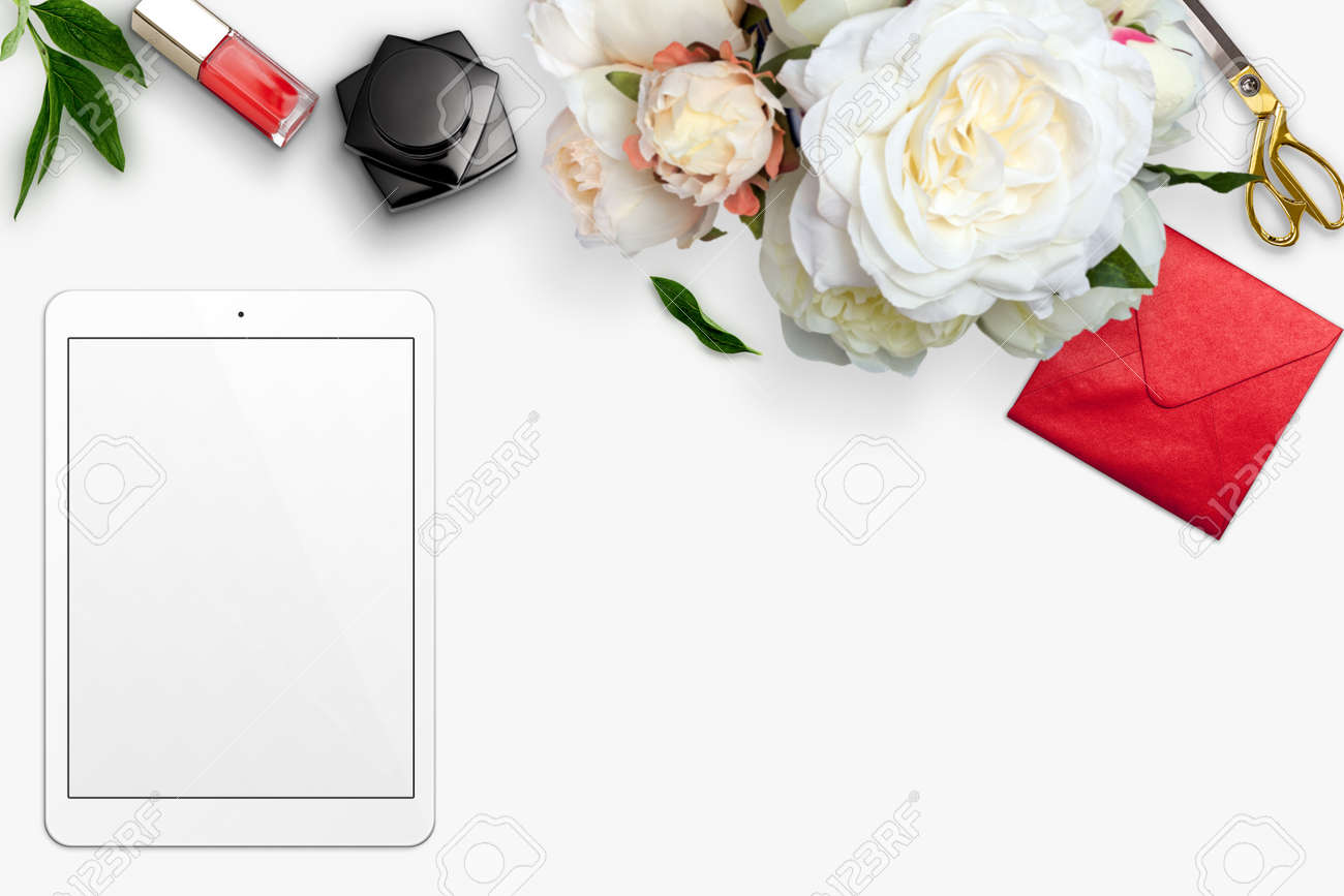 Top view scene with tablet, bouquet of peonies and stationery over white background. Styled stock photography. Digital product mockup. - 59035251
