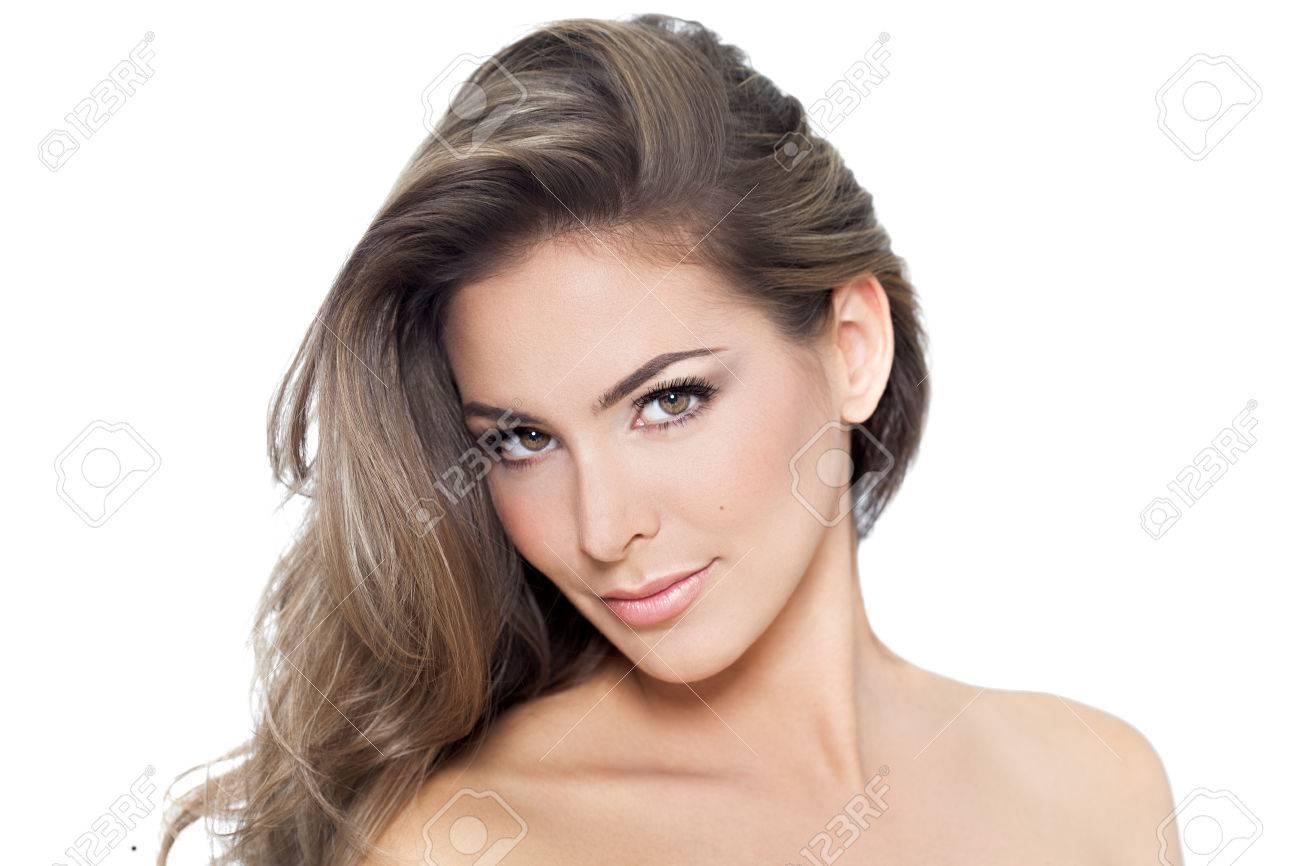 Junge Schöne Frau Mit Langen Haaren Und Isoliert Auf Weißem