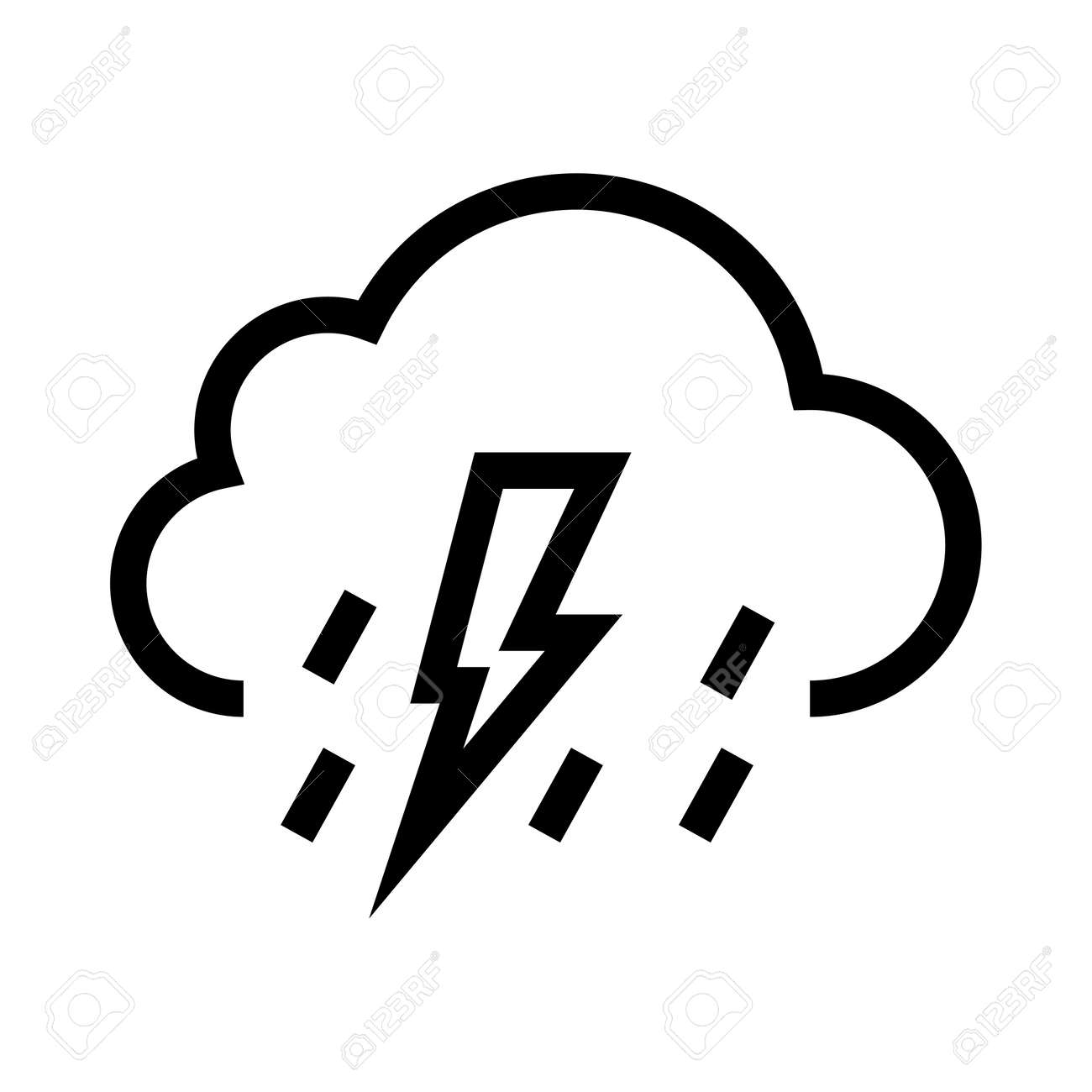 Cloud With Rain And Lightning Icon Vector Illustration Isolated On White Background Stock