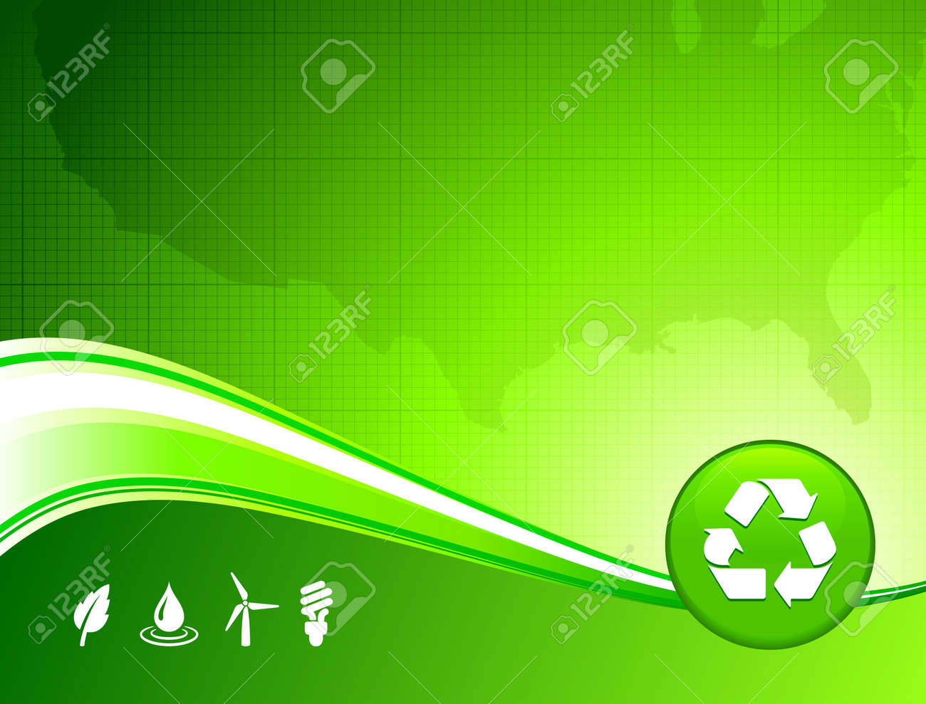 Original Illustration: green environment US map background AI8 compatible Stock Illustration - 6426293