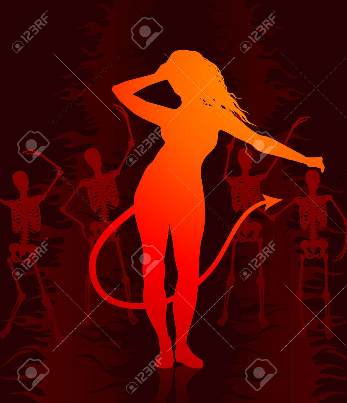 She devil in hell background stock photo picture and royalty free she devil in hell background stock photo 6441377 voltagebd Choice Image
