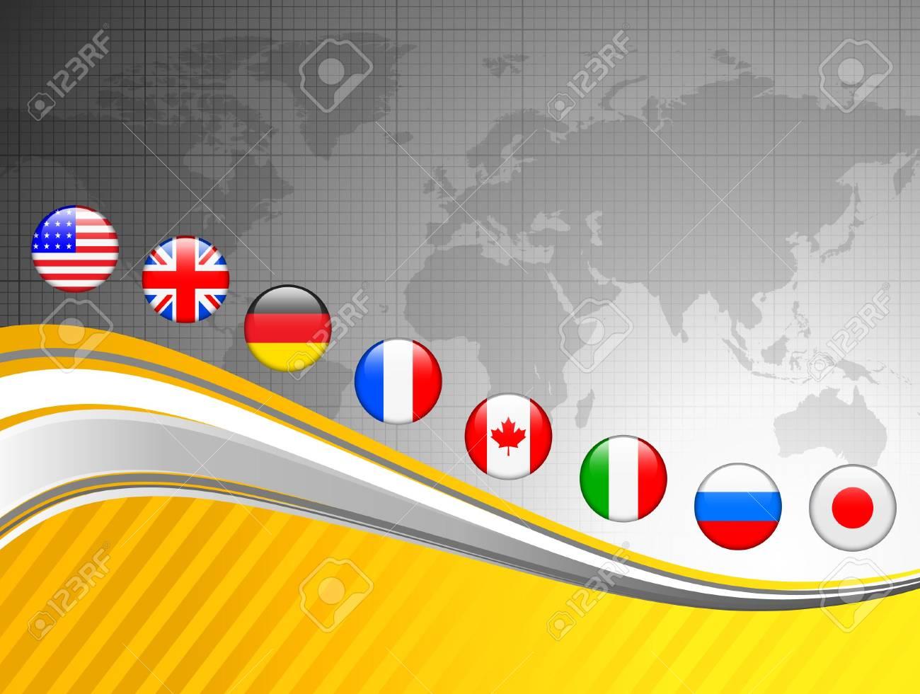 World Map with Internet Flag Buttons BackgroundOriginal Vector Illustration Stock Illustration - 6441398