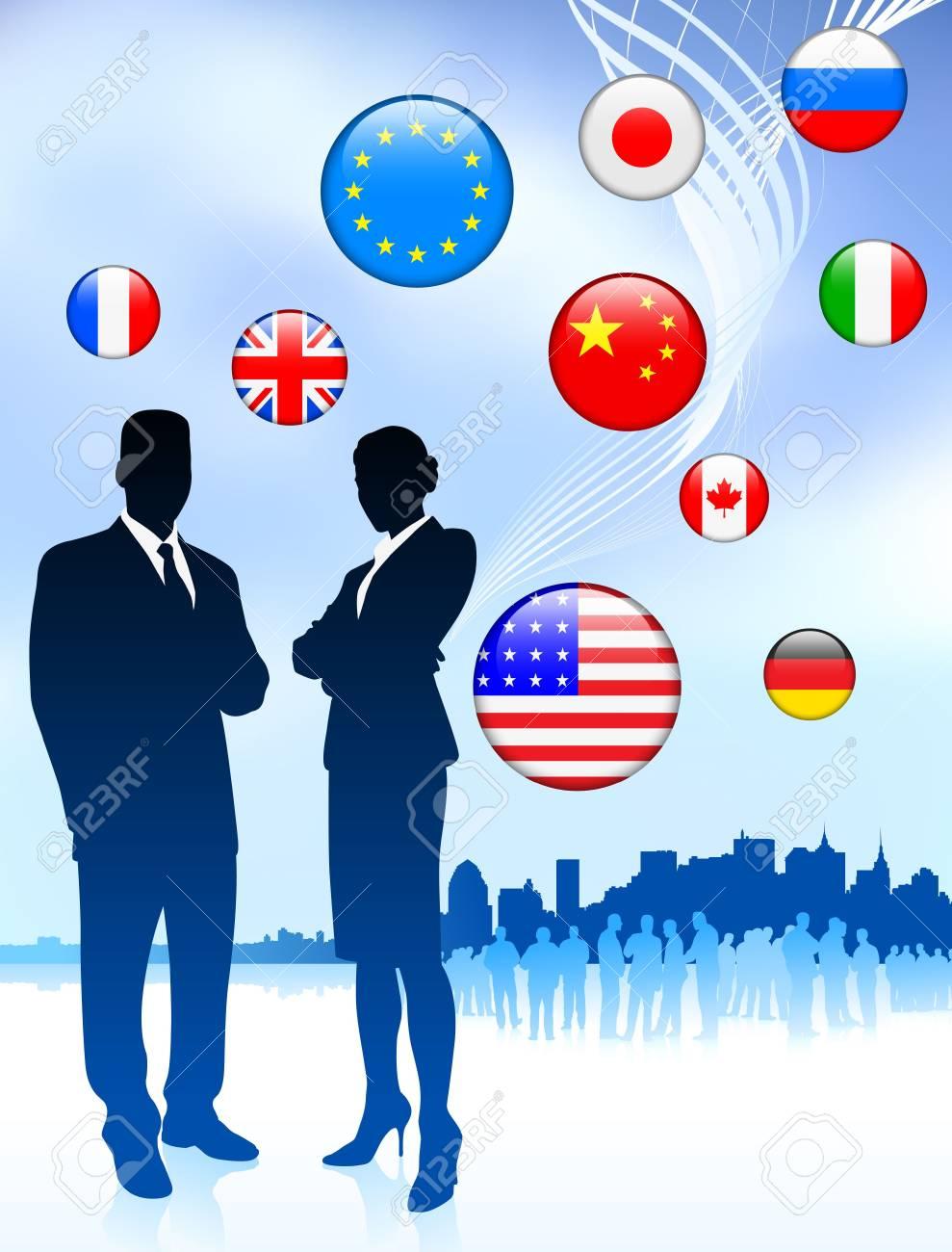 Business Couple on  internet flag buttons backgroundOriginal Vector Illustration Stock Photo - 6441633