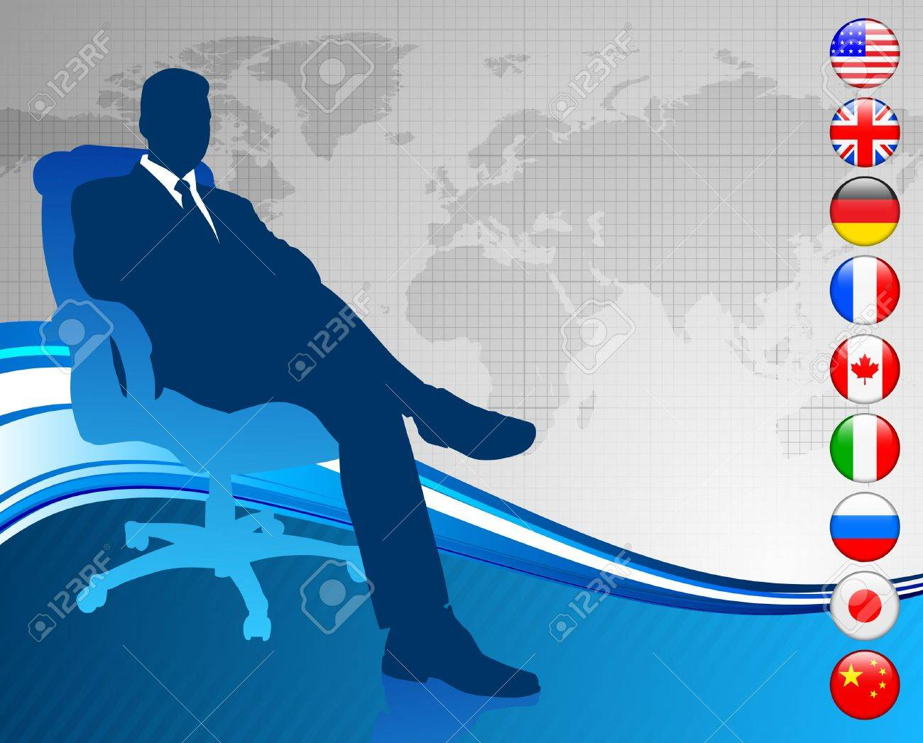 Businessman with world map and flag buttonsOriginal Vector Illustration Stock Illustration - 6441193