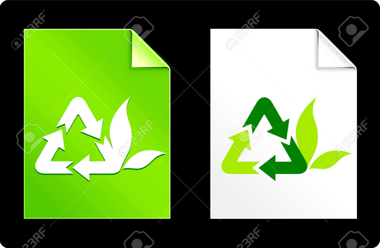 Recycle Symbol on Paper SetOriginal Vector IllustrationAI 8 Compatible File Stock Illustration - 6523094
