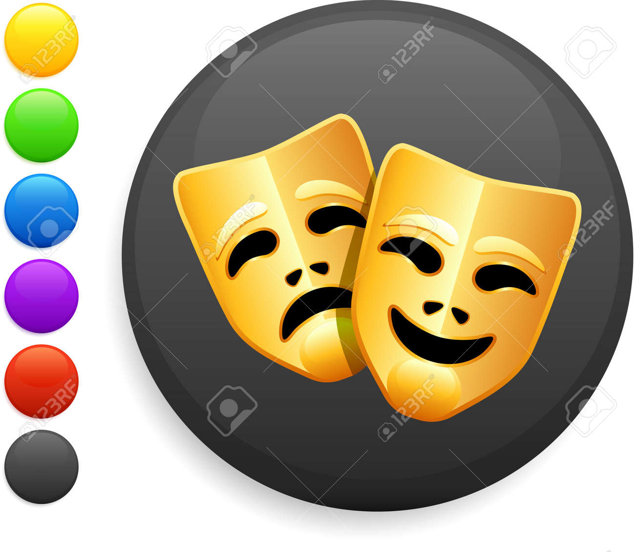 tragedy and comedy masks icon on round internet buttonoriginal vector illustration6 color versions included - 6572569