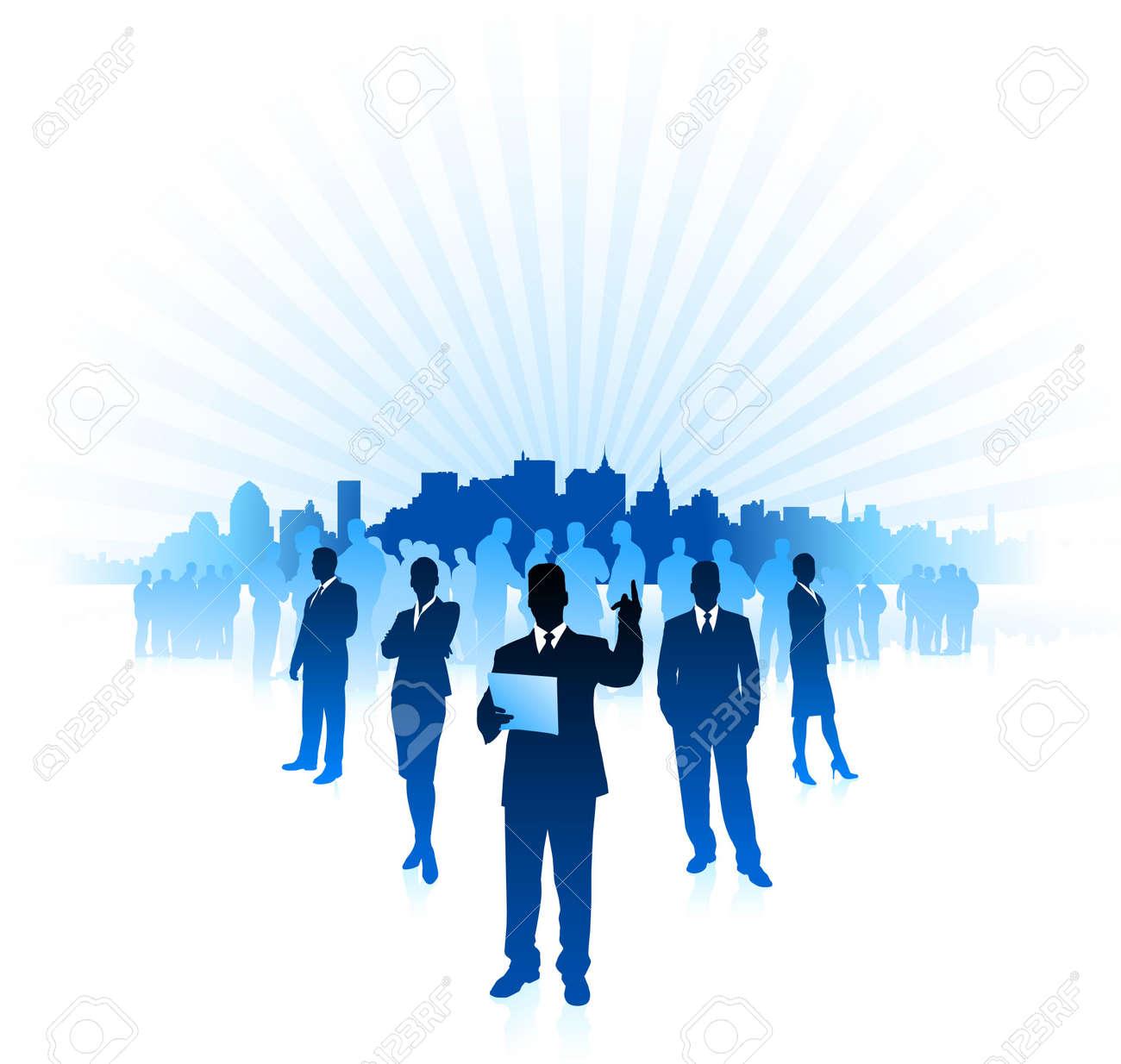 Origianl Illustration: businessman and businesswoman on city skyline internet background File is AI8 compatible Stock Illustration - 6573712