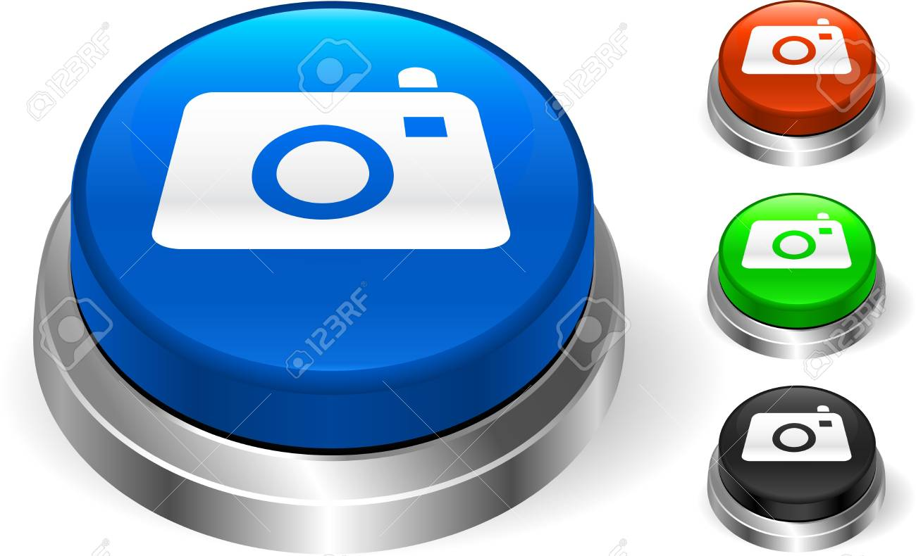 Camera Icon on Internet Button Original Illustration Three Dimensional Buttons Stock Illustration - 6589704