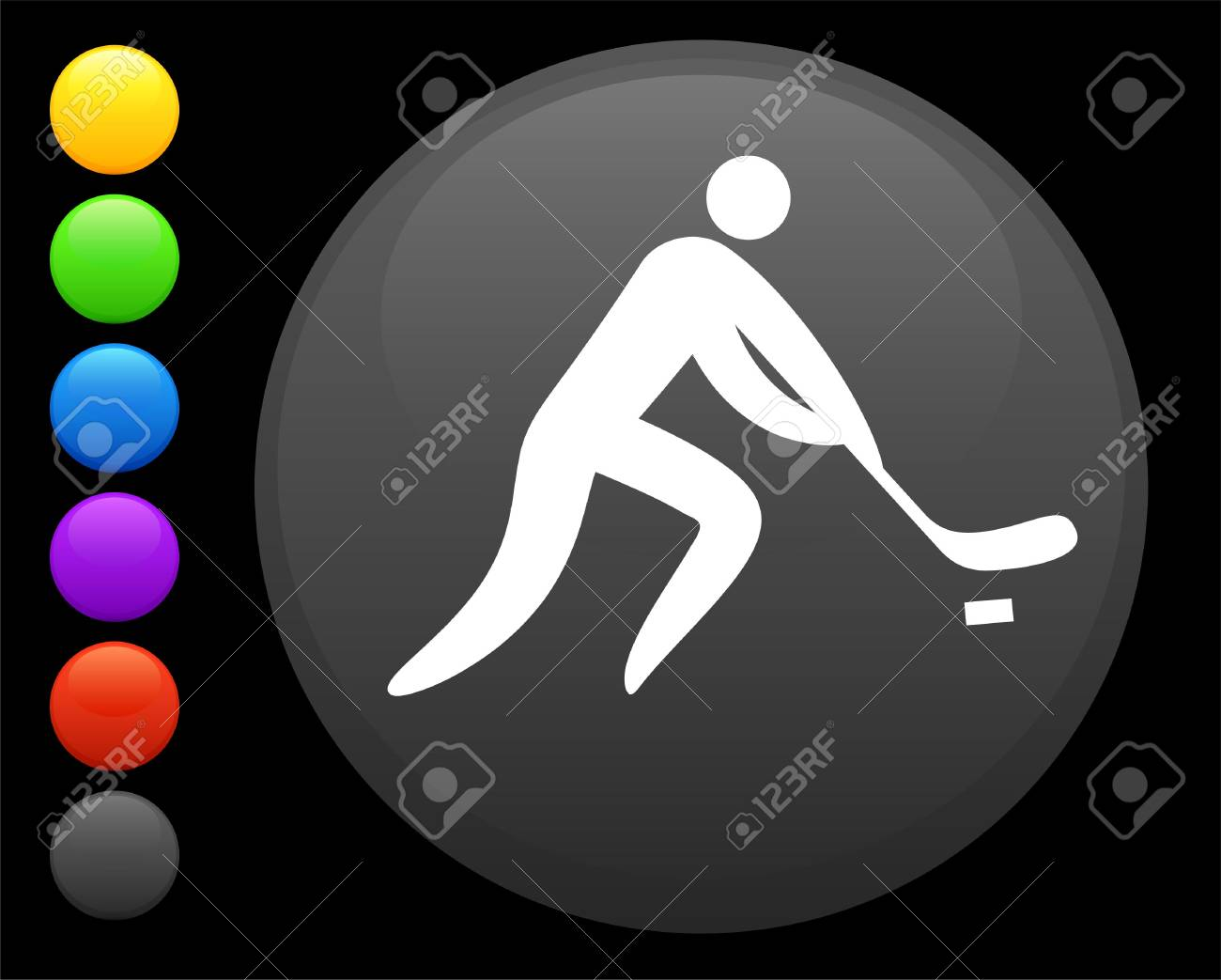 hockey icon on round internet button original  illustration 6 color versions included Stock Photo - 6616893