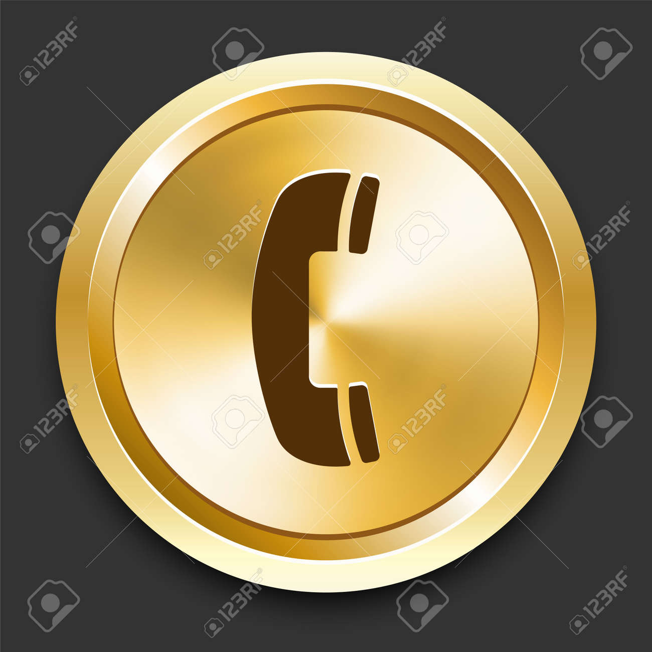 Telephone on Golden Internet Button