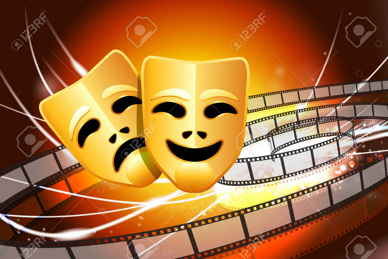 Comedy and Tragedy Masks on Abstract Modern Light BackgroundOriginal Illustration Stock Photo - 6884086