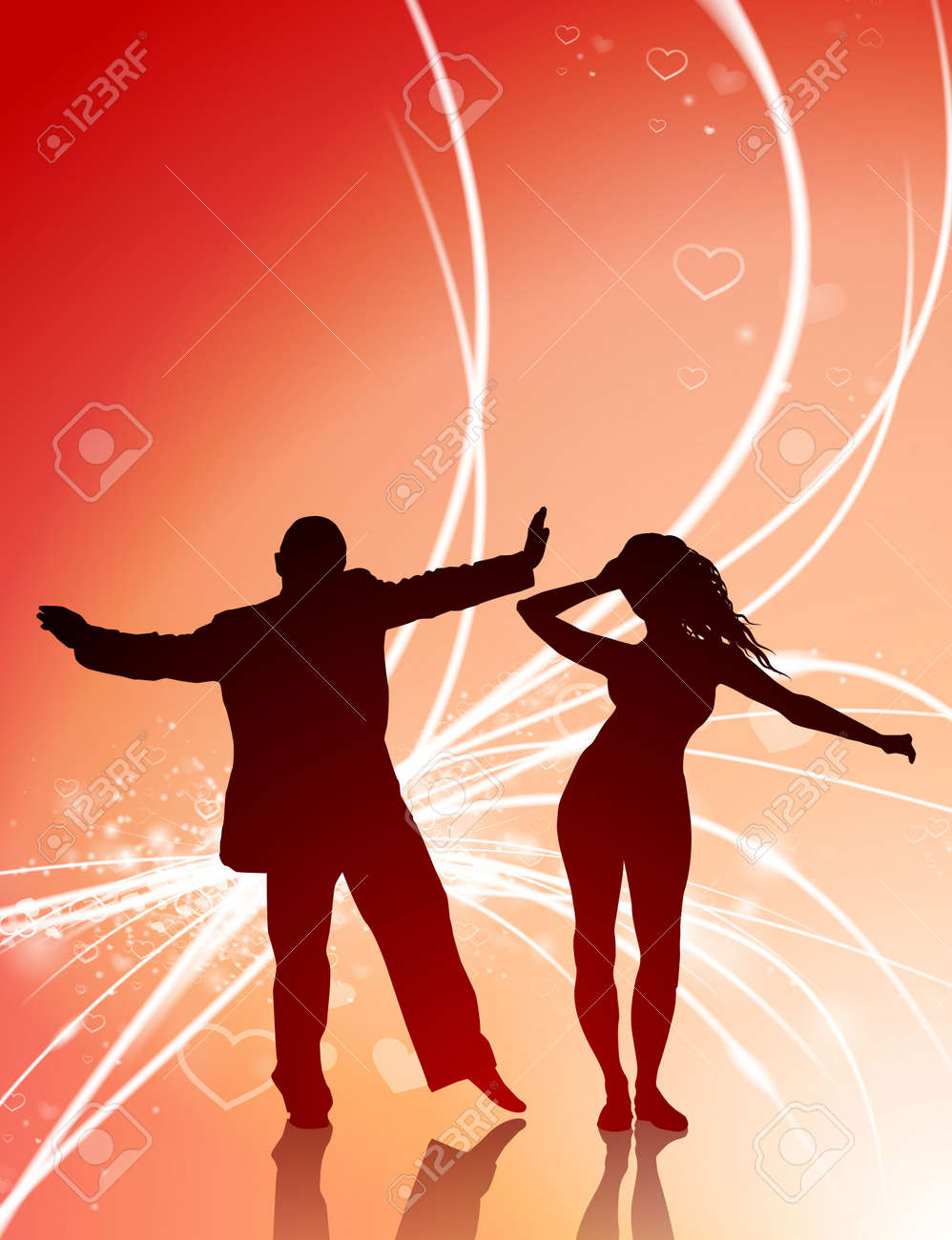 Illustration - Sexy Young Couple on Abstract Valentine's Day Light  Background Original Illustration
