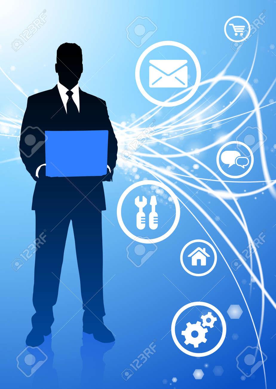 Businessman with Internet IconsOriginal Illustration Stock Illustration - 7098541