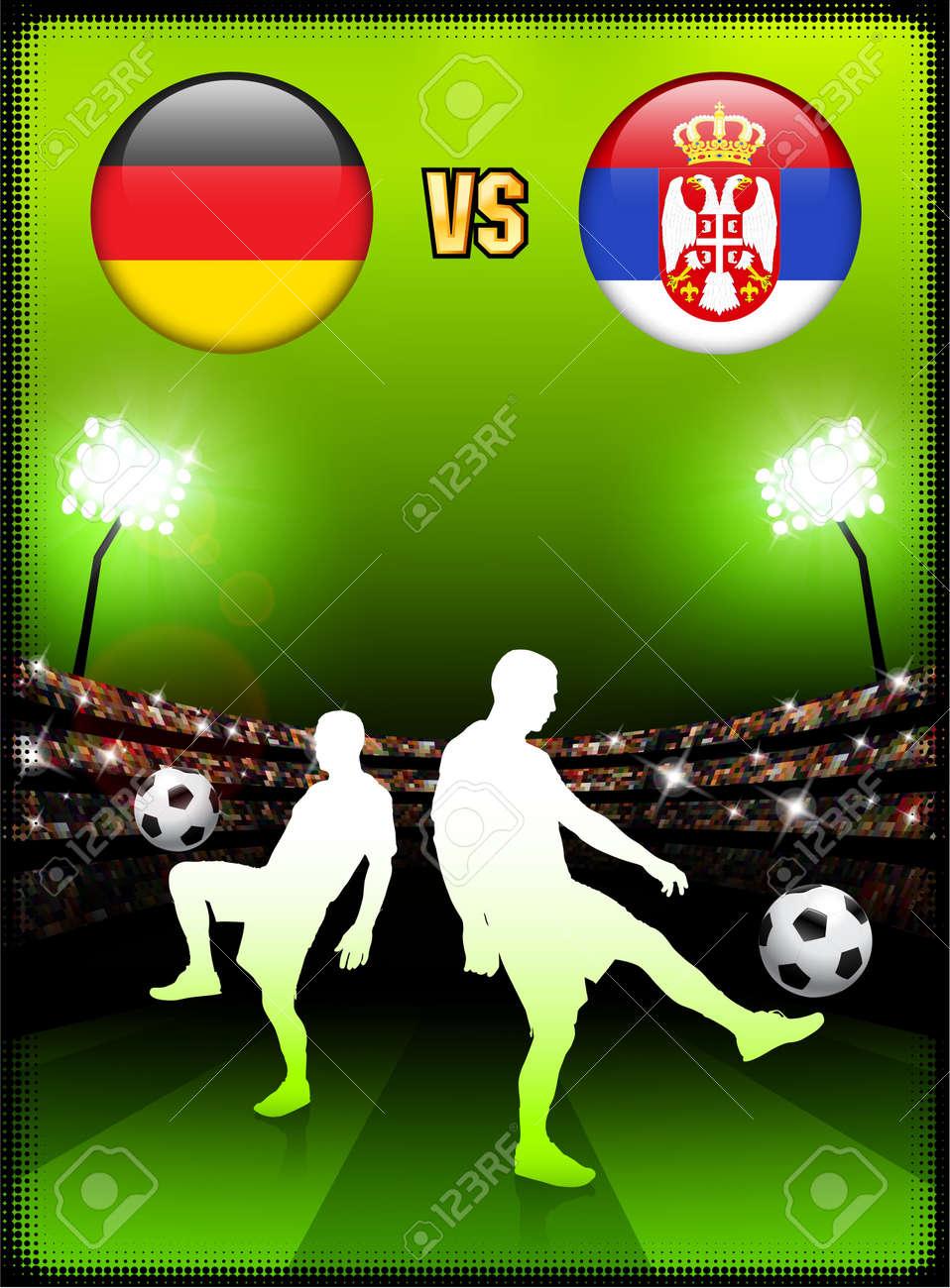 Germany versus Serbia on Stadium Event BackgroundOriginal Illustration Stock Photo - 7138235