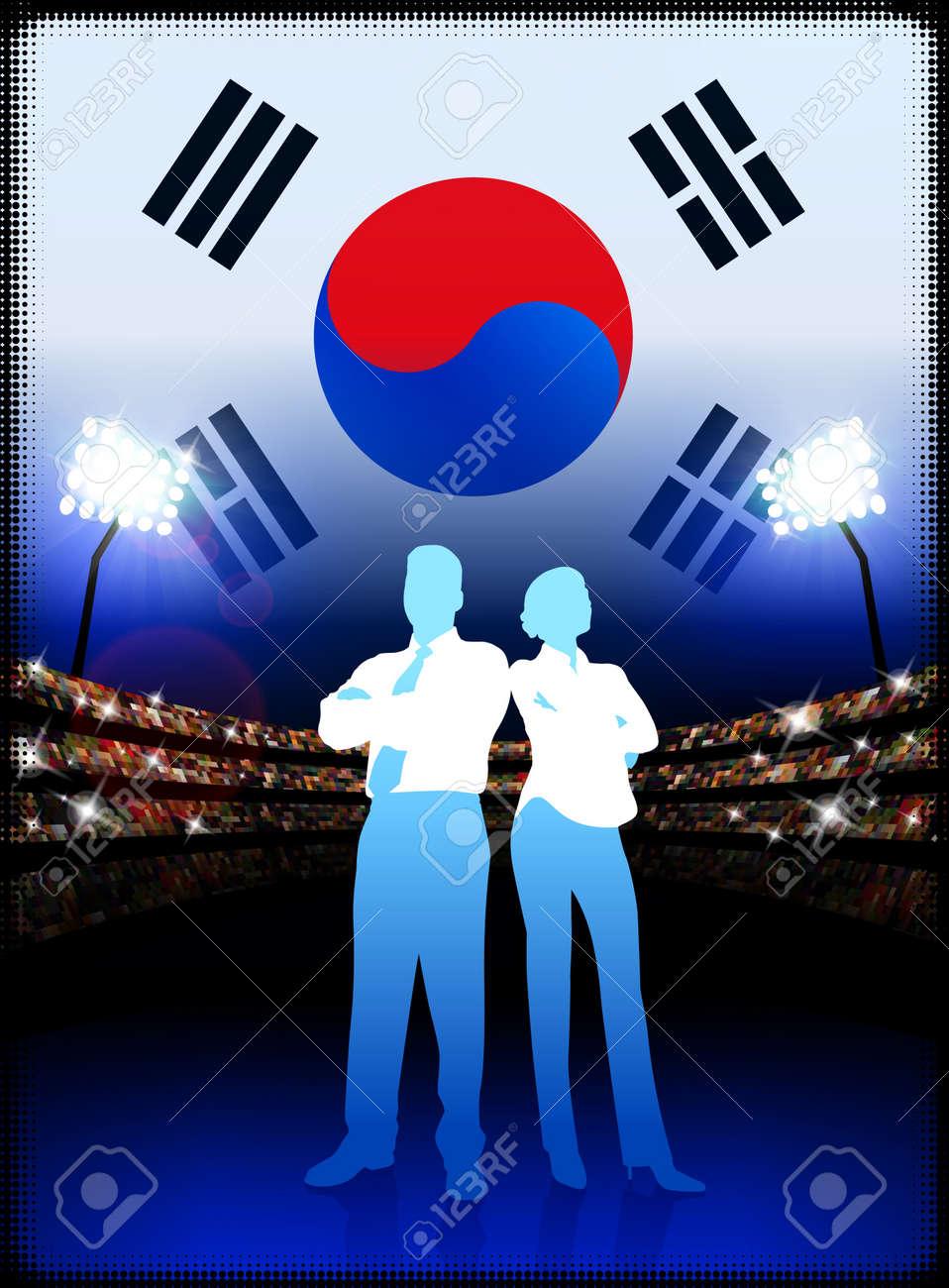 フラグでスタジアムの背景に韓国ビジネス カップルオリジナル イラスト