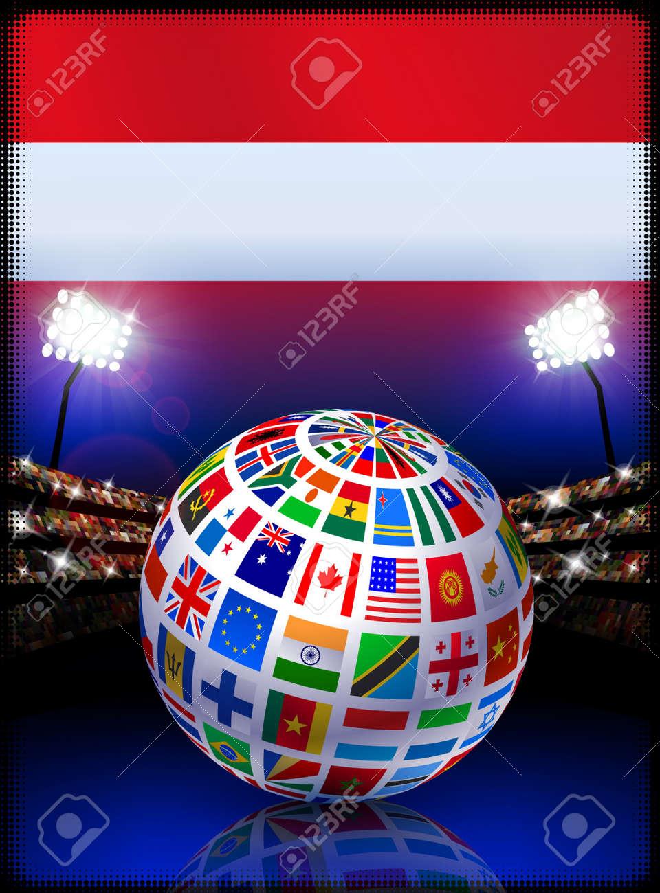 Austria Flag Globe on Stadium BackgroundOriginal Illustration Stock Illustration - 7264591