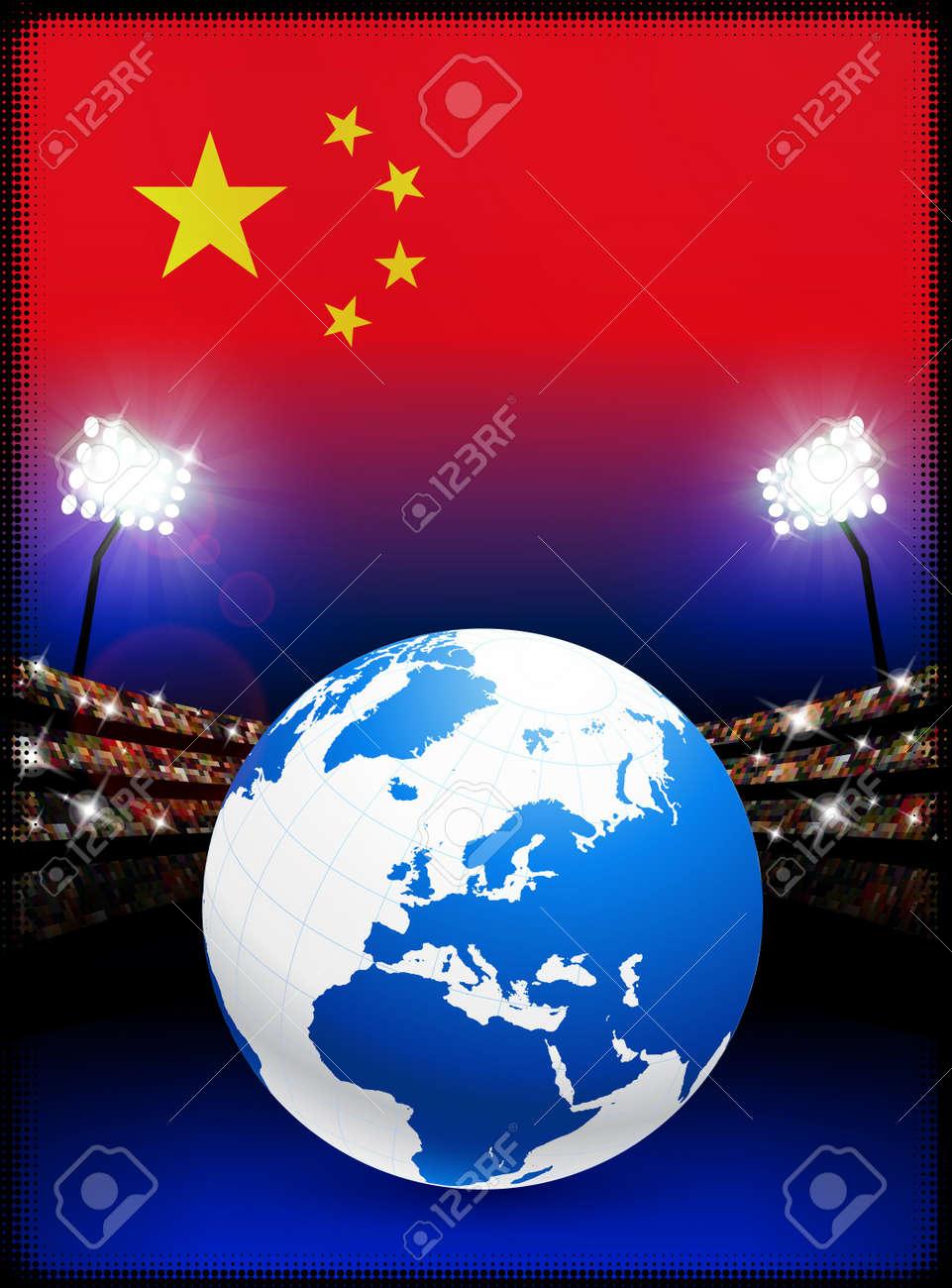 China Flag with Globe on Stadium BackgroundOriginal Illustration Stock Photo - 7264135