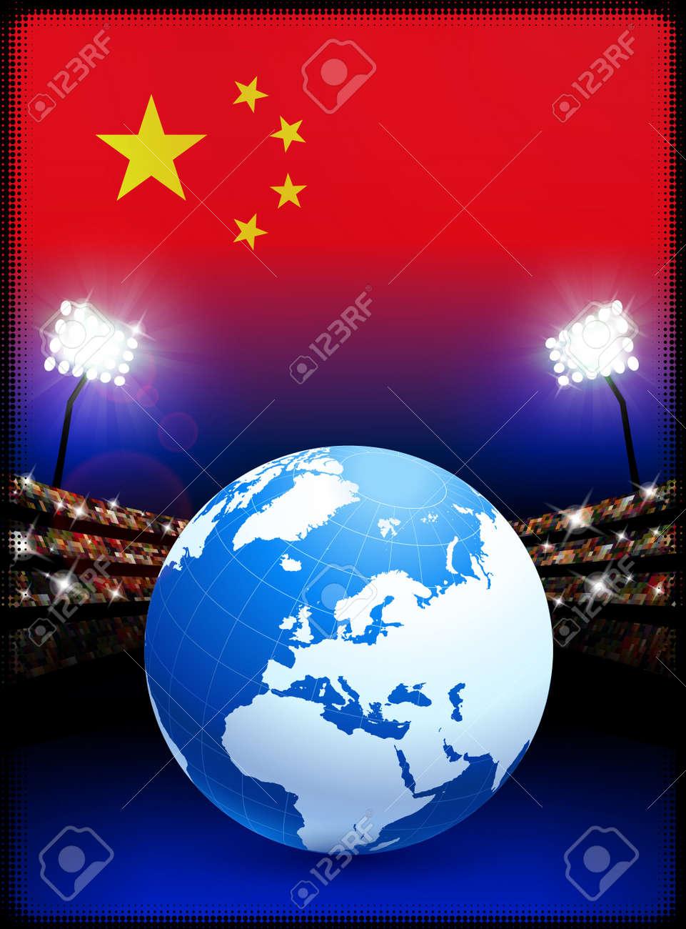 China Flag with Globe on Stadium BackgroundOriginal Illustration Stock Illustration - 7264173