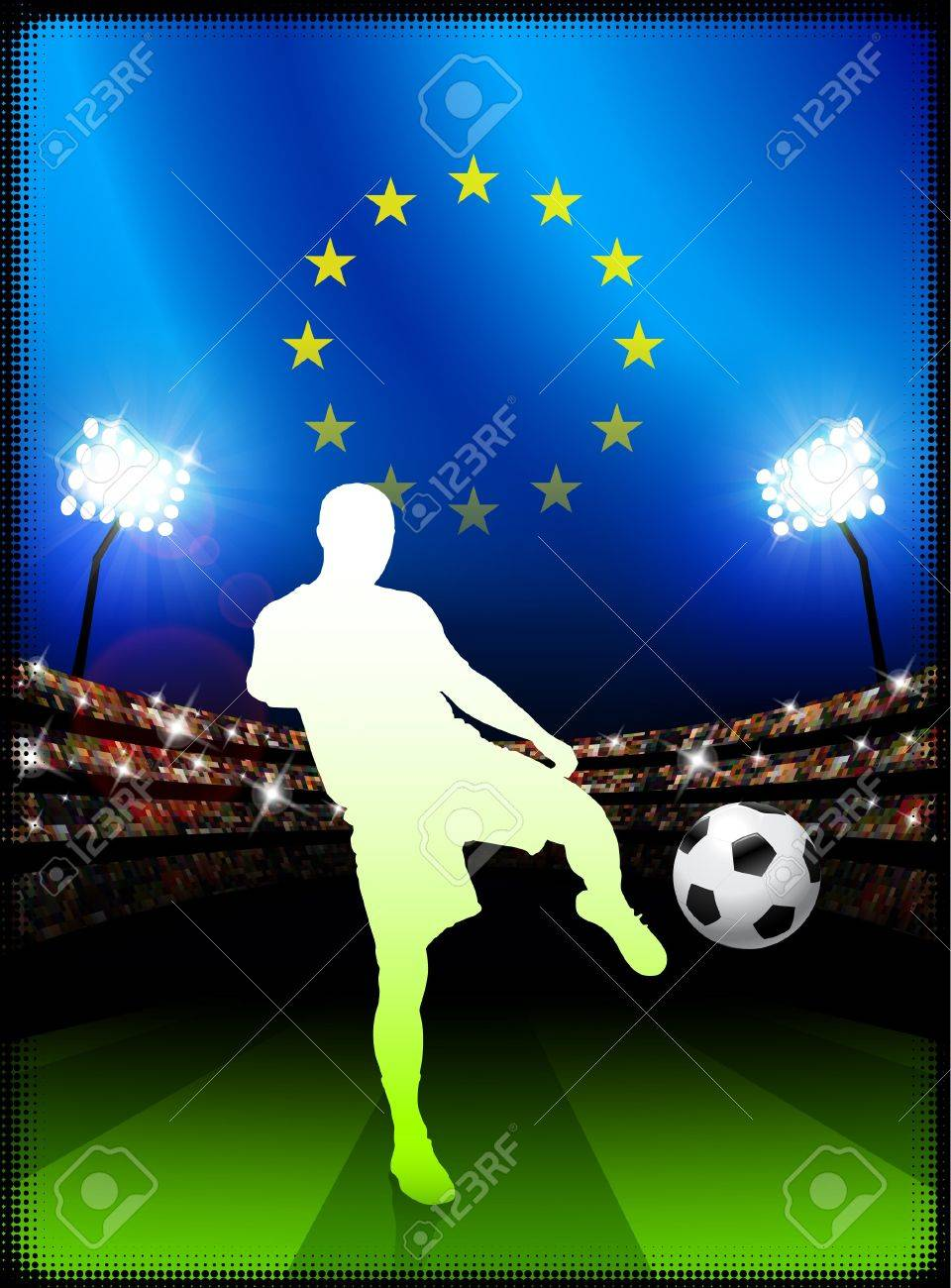 European Union Soccer Player with Flag on Stadium BackgroundOriginal Illustration Stock Illustration - 7264253
