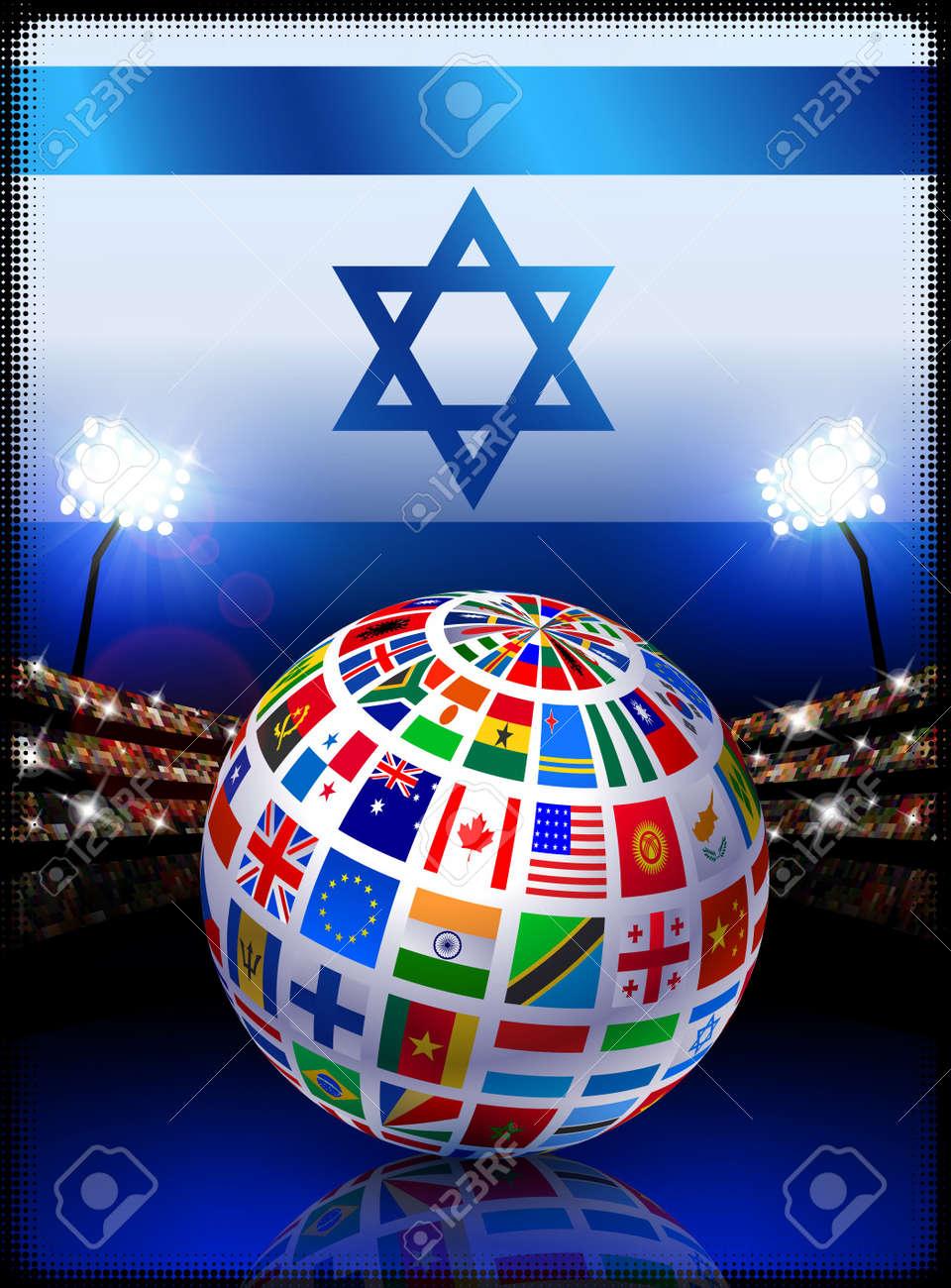 Israel Flag Globe on Stadium BackgroundOriginal Illustration Stock Illustration - 7264804
