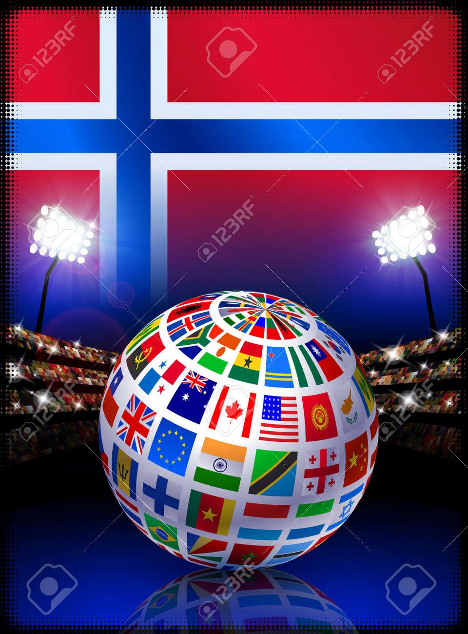 Norway Flag Globe on Stadium BackgroundOriginal Illustration Stock Illustration - 7265031