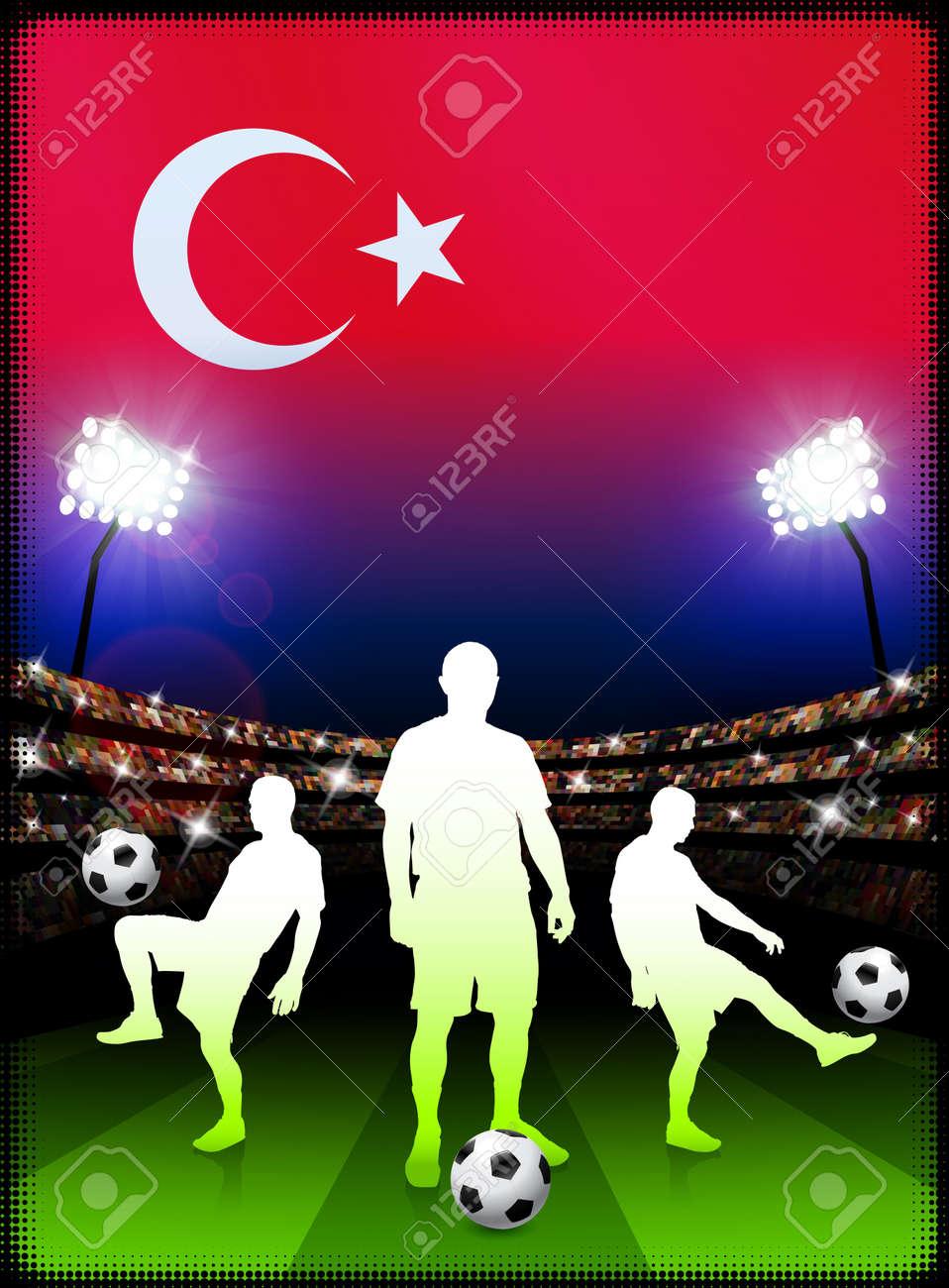 Turkey Soccer Player with Flag on Stadium BackgroundOriginal Illustration Stock Illustration - 7265958