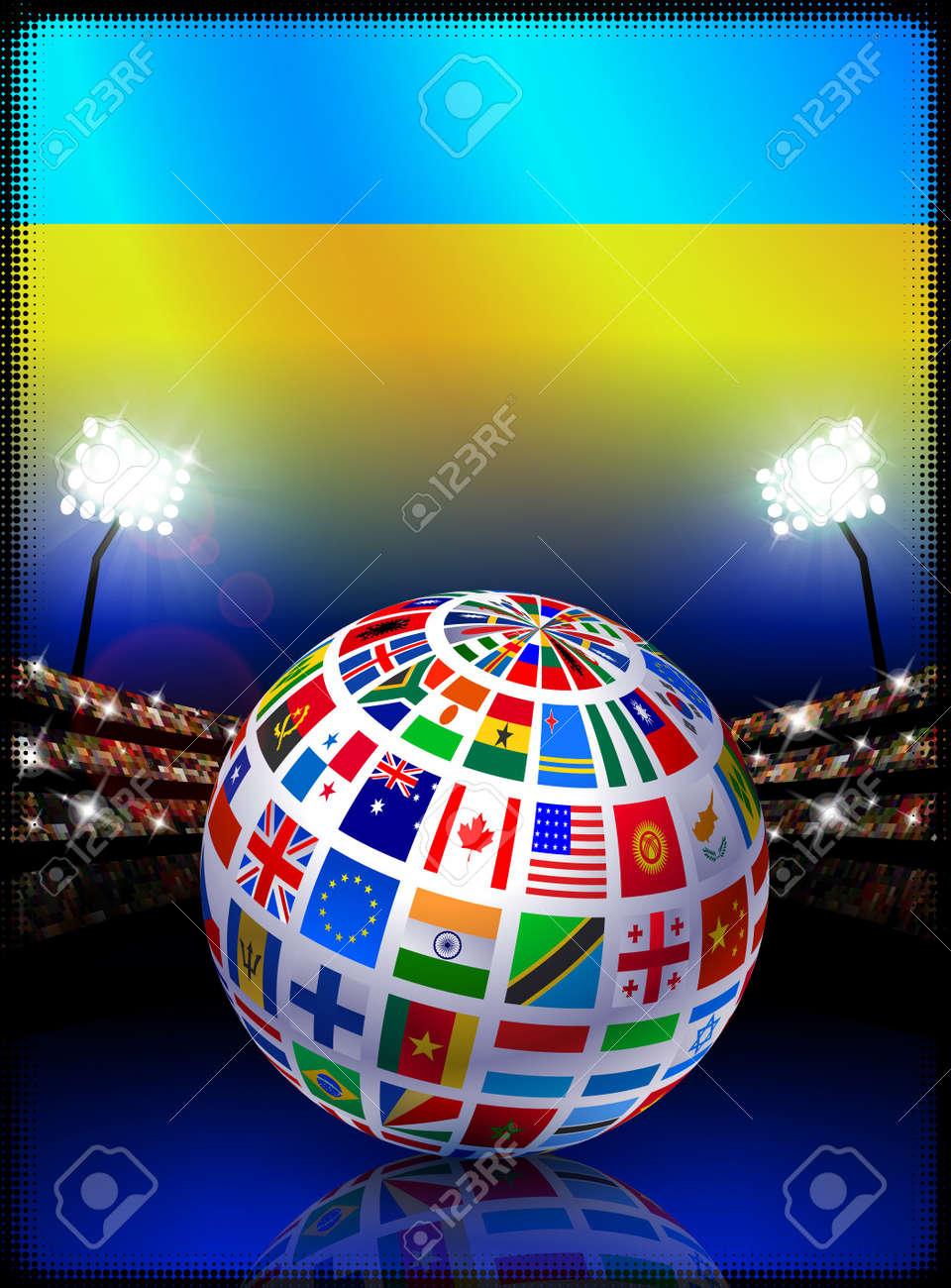 Ukraine Flag Globe on Stadium BackgroundOriginal Illustration Stock Photo - 7266033