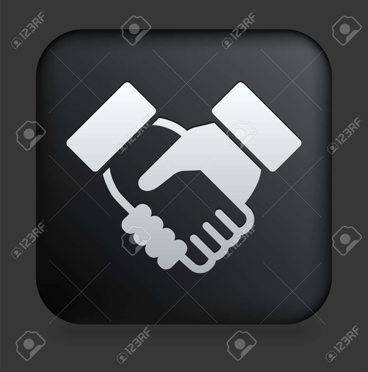 Handshake Icon on Square Black Internet ButtonOriginal Illustration Stock Illustration - 7567942