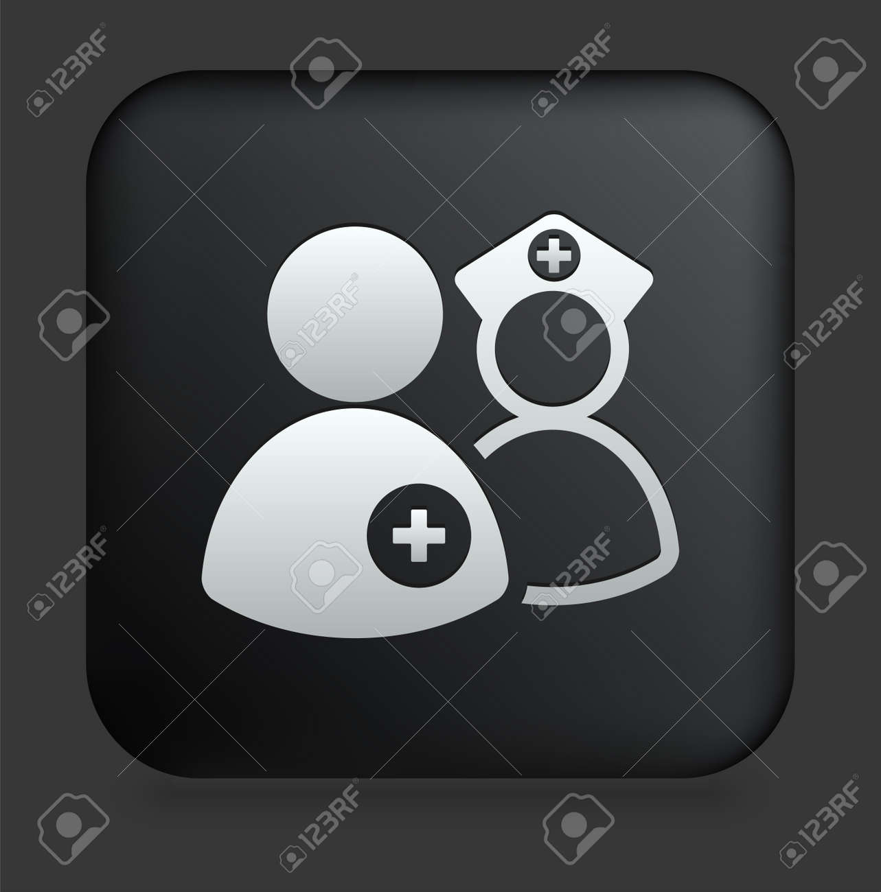 Medical Team Icon on Square Black Internet ButtonOriginal Illustration Stock Illustration - 7567894
