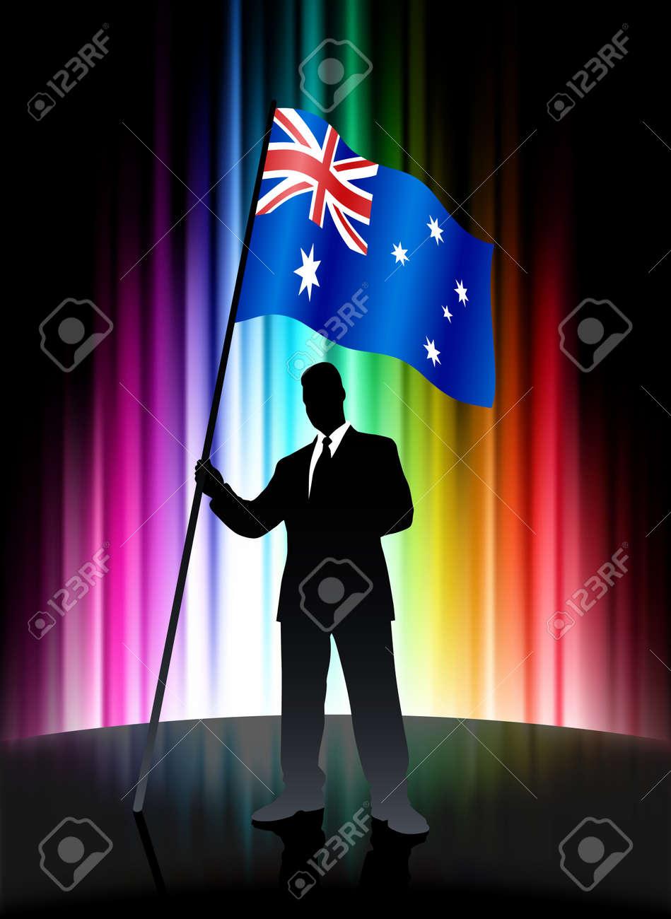 Australia Flag with Businessman on Abstract Spectrum BackgroundOriginal Illustration Stock Illustration - 7569235