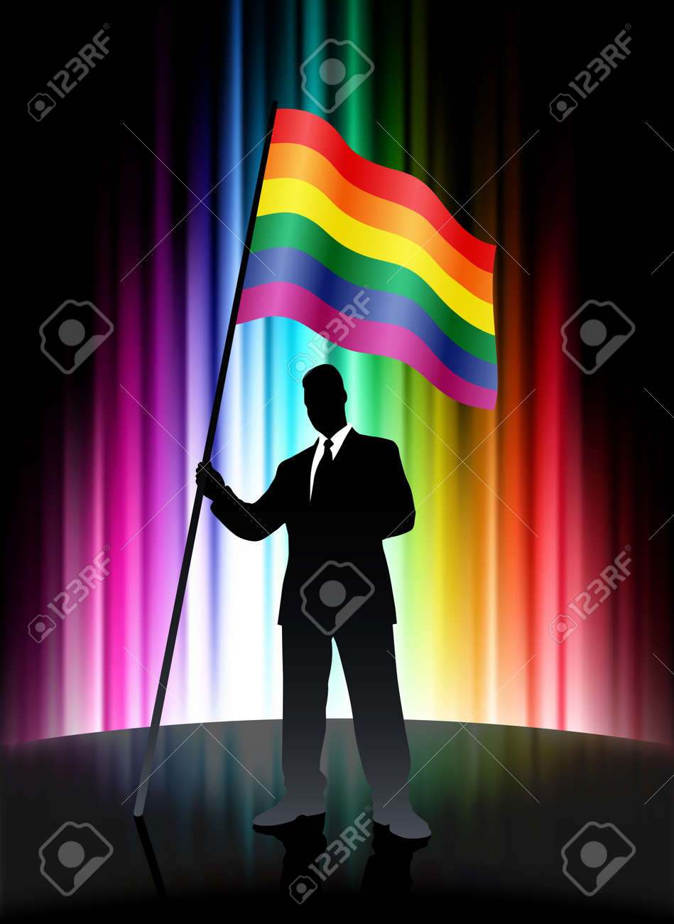 Flag with Businessman on Abstract Spectrum Background Original Illustration Stock Illustration - 7569201