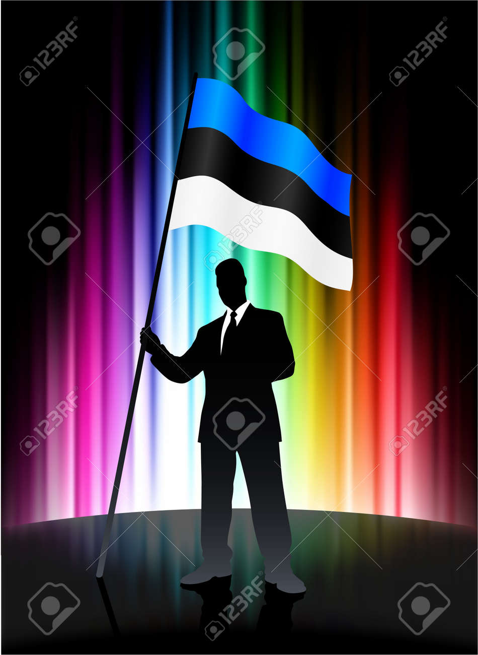Estonia Flag with Businessman on Abstract Spectrum BackgroundOriginal Illustration Stock Illustration - 7666911