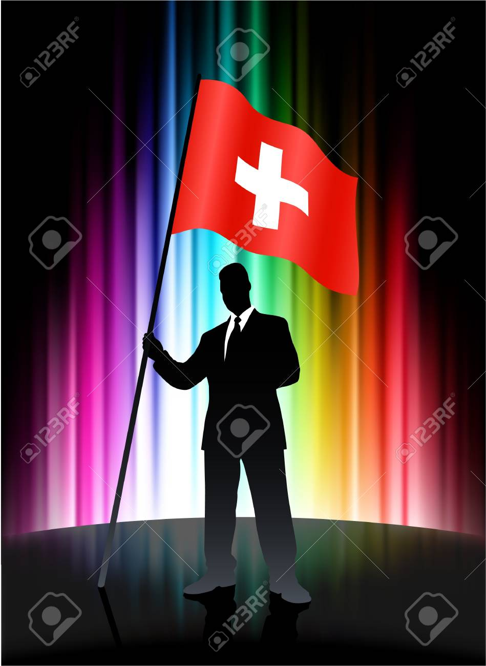 Switzerland Flag with Businessman on Abstract Spectrum Background
