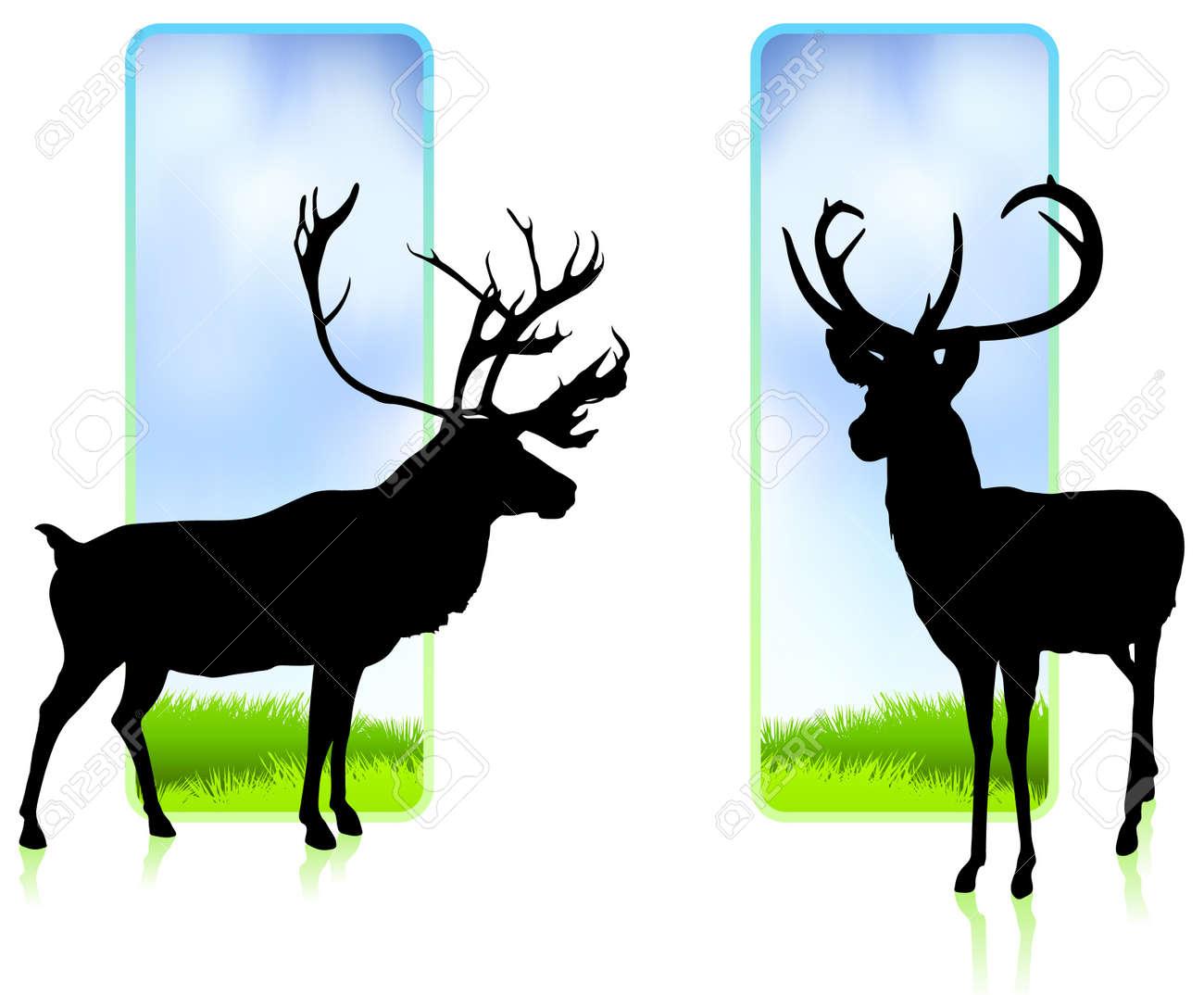 Deer with Nature BannersOriginal Vector Illustration Stock Vector - 20476480