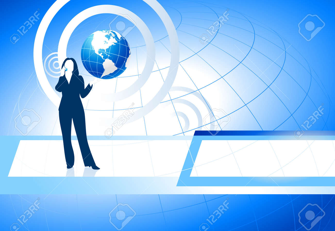 Businesswoman on Blue Business Background Stock Vector - 20482891