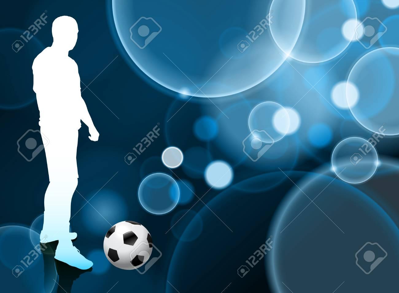 Vettoriale Giocatore Di Calcio Su Sfondo Blu Bolla Illustrazione