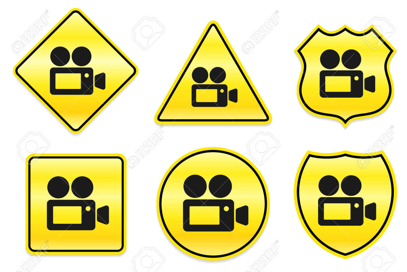 Camcorder Icon on Yellow Designs