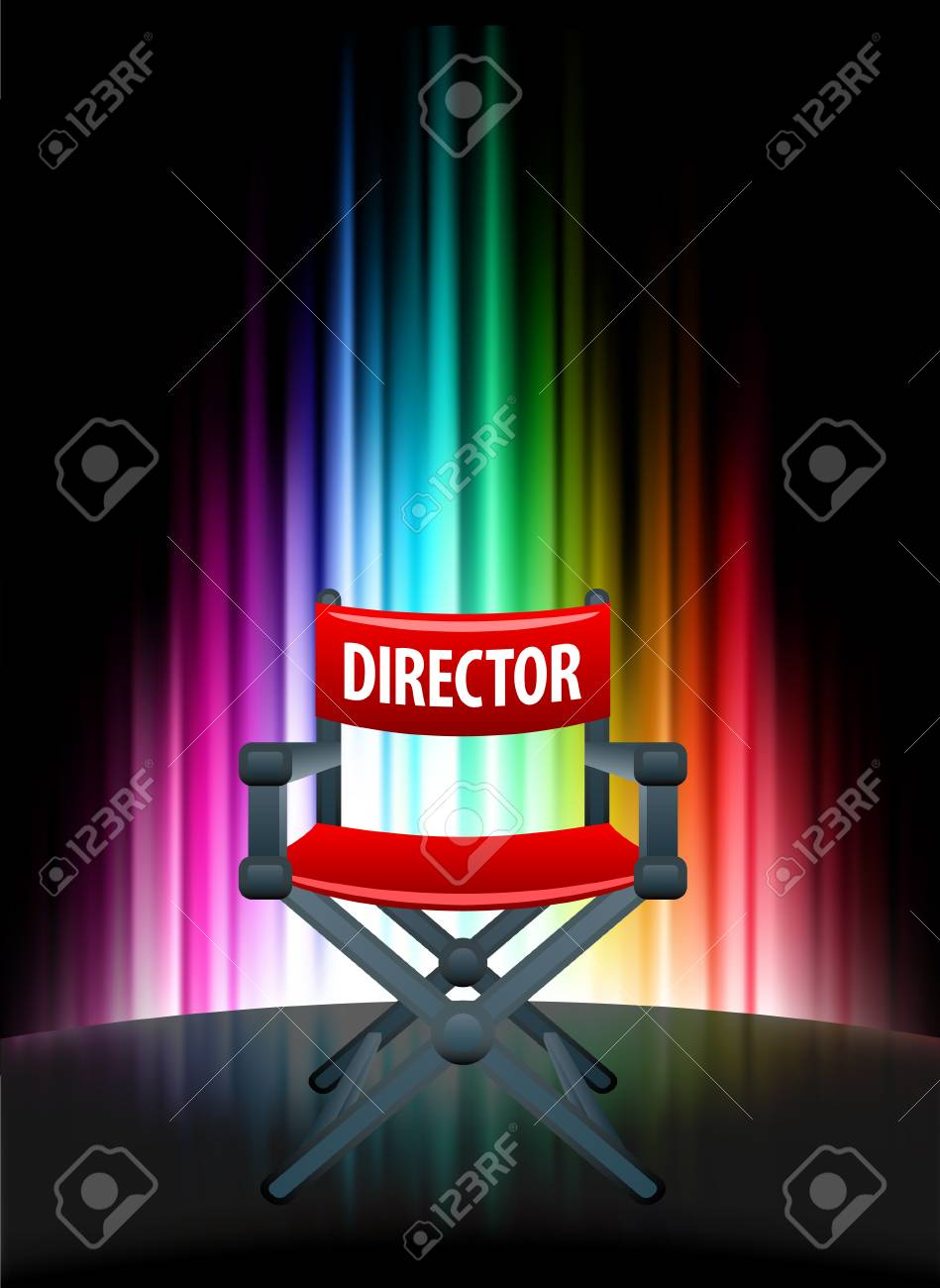 Director Chair on Abstract Spectrum BackgroundOriginal Illustration Stock Vector - 22352937