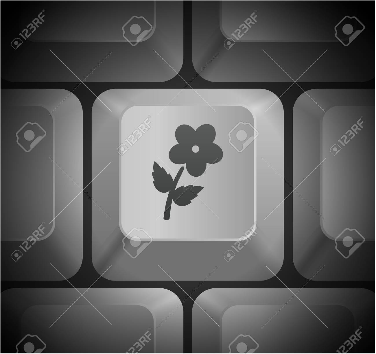 Flower Icon On Computer Keyboard Original Illustration Royalty Free